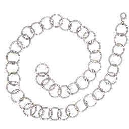 Silberkette mit großen gehämmerten Gliedern