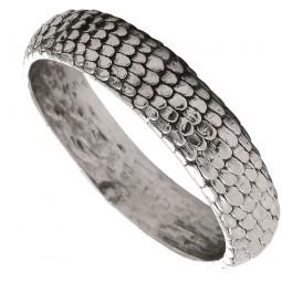 Schmaler Silberarmreif mit Schlangenprägung
